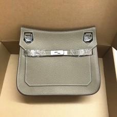 Hermes Jypsiere 28cm Crossbody Bag Grey Silver