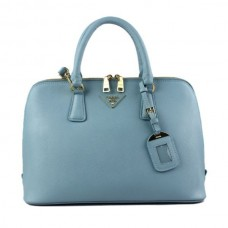 Prada 0812 light blue cross pattern tote bag