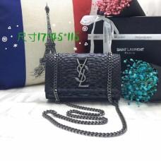YSL Chain Bag 17cm Snake Black Silver