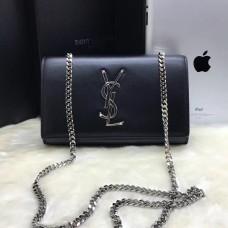 YSL Smooth Leather Chain Bag 22cm Black Silver