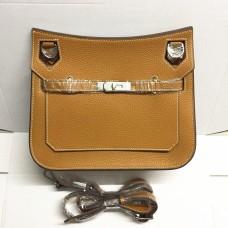 Hermes Jypsiere 28cm Crossbody Bag Brown Silver