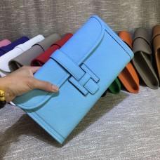 Hermes Epsom Leather Jige Clutch 29cm Light Blue