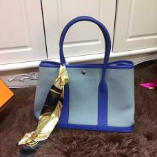 Hermes Garden Party 36cm Leather Handbag Grey Blue Electric Blue