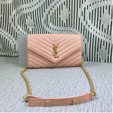 YSL Envelope Chain Bag Caviar Leather Pink 23cm