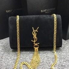YSL Tassel Chain Bag 22cm Suede Leather Black