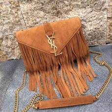 YSL Suede Leather Tassel 22cm Bag Camel