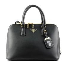 Prada 0812 black cross pattern tote bag