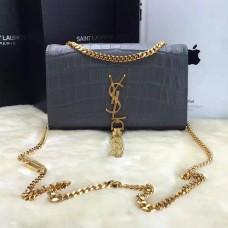YSL Tassel Chain Bag 22cm Croco Grey Gold