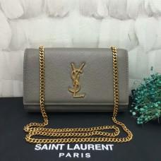 YSL Caviar Leather Chain Bag 22cm Grey Gold