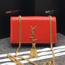 YSL Tassel Chain Bag 22cm Patent Leather Red