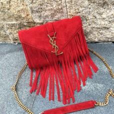 YSL Suede Leather Tassel 22cm Bag Red