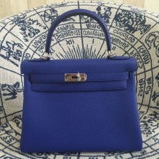 Hermes Kelly 28cm Bag Togo Leather Electric Blue Silver