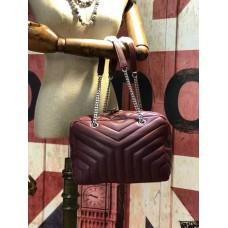 YSL Chain Handbag 27cm Burgundy