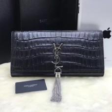 YSL Tassel Clutch 27cm Croco Leather Black Silver