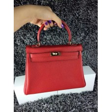 Hermes Kelly 25cm Togo Leather Red Gold