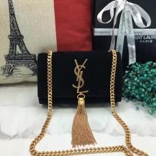 YSL Small Tassel Chain Bag 17cm Suede Leather Black