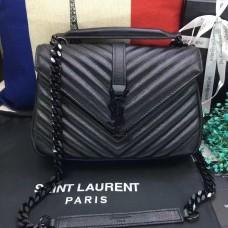 YSL Top Handle Shoulder Bag 24cm Black Black
