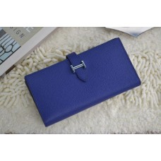 Hermes Calf Leather Wallet H005 Royal Blue