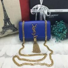 YSL Small Tassel Chain Leather Bag 17cm Blue