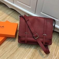 Hermes Steve Men Crossbody Leather Bag Burgundy