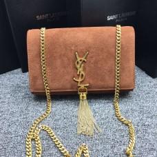 YSL Tassel Chain Bag 22cm Suede Leather Brown