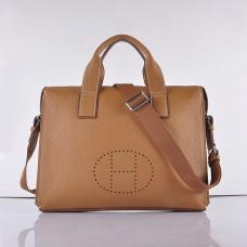 Hermes Calf Leather 8078 Handbag Light Coffee Silver