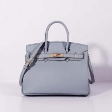Hermes 30cm Birkin Bag Togo Leather with Strap Blue Lin Gold