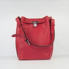 Hermes So Kelly 28cm Togo Leather Shoulder Bag Red Silver