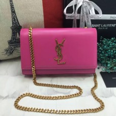 YSL Smooth Leather Chain Bag 22cm Rose