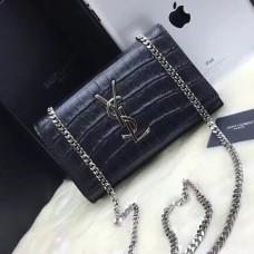 YSL Monogram Chain Bag 22cm Croco Black Silver