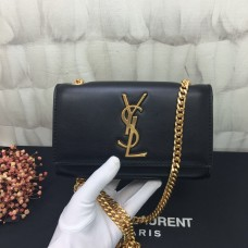 YSL Small Chain Leather Bag 17cm Black Gold