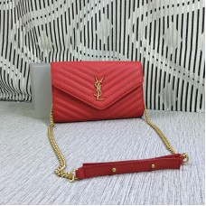 YSL Envelope Chain Bag Caviar Leather Red 23cm