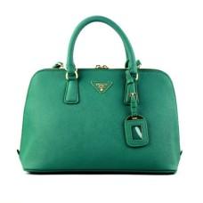 Prada 0812 dark green cross pattern tote bag