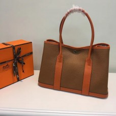 Hermes Garden Party 36cm Leather Handbag Camel Orange