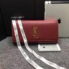 YSL Saint Laurent Clutch 27cm Smooth Leather Burgundy