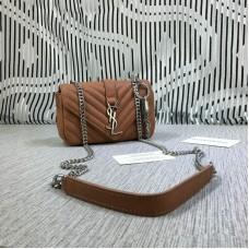 YSL Small Envelope Chain Bag Goatskin Brown 18cm