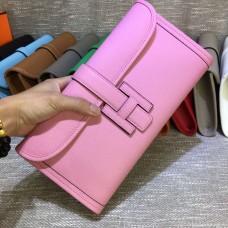 Hermes Epsom Leather Jige Clutch 29cm Pink
