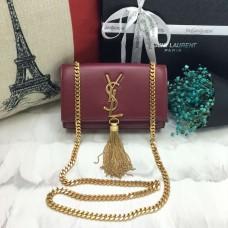 YSL Small Tassel Chain Leather Bag 17cm Burgundy