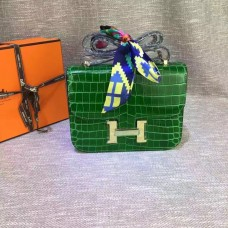 Hermes Constance 23cm Croco Leather Green