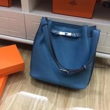 Hermes So Kelly 28cm Togo Leather Shoulder Bag Blue Silver