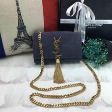 YSL Small Tassel Chain Bag 17cm Suede Leather Grey