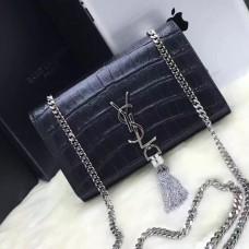 YSL Tassel Chain Bag 22cm Croco Black Silver