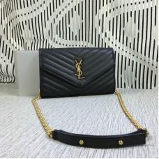 YSL Envelope Chain Bag Caviar Leather Black 23cm