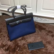 Hermes Herbag 31cm Dark Blue Canvas Bag