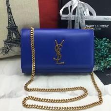 YSL Smooth Leather Chain Bag 22cm Blue