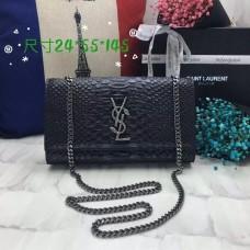 YSL Monogram Chain Bag 24cm Snake Black