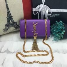 YSL Small Tassel Chain Leather Bag 17cm Purple