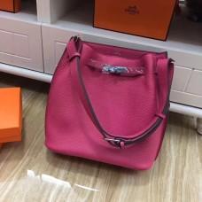 Hermes So Kelly 28cm Togo Leather Shoulder Bag Hot Pink Silver
