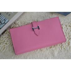 Hermes Calf Leather Wallet H005 H Pink