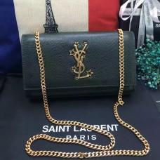 New YSL Chain Bag 24cm Caviar Leather Dark Green